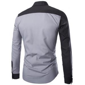 Stylish Slimming Shirt Collar Color Block Irregular Splicing Long Sleeve Polyester Shirt For Men -