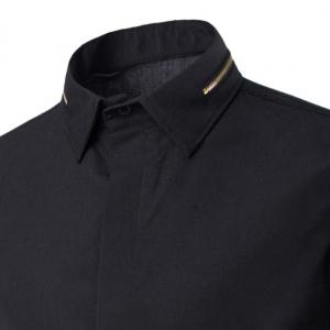 Fashion Slimming Shirt Collar Simple Solid Color Zipper Design Long Sleeve Polyester Shirt For Men -