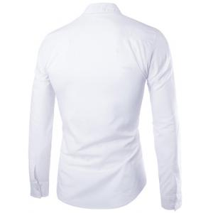 Fashion Slimming Shirt Collar Contrast Color Cross Pattern Long Sleeve Polyester Shirt For Men -