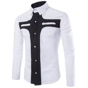 Fashion Slimming Shirt Collar Contrast Color Cross Pattern Long Sleeve Polyester Shirt For Men