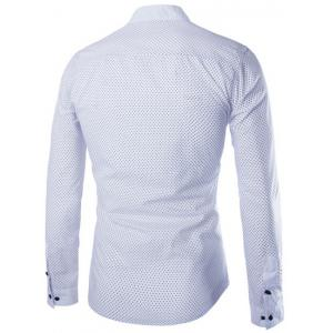 Fashion Slimming Stand Collar Tiny Polka Dots Print Long Sleeve Polyester Shirt For Men - WHITE M