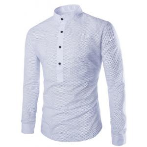 Fashion Slimming Stand Collar Tiny Polka Dots Print Long Sleeve Polyester Shirt For Men