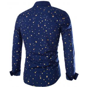 Trendy Slimming Shirt Collar Five-Point Star Print Long Sleeve Polyester Shirt For Men -