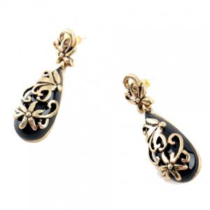 Pair of Vintage Faux Gemstone Hollow Out Flower Waterdrop Earrings -