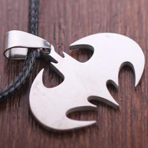 Stylish Solid Color Batman Logo Necklace - SILVER