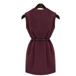 Graceful V-Neck Pure Color Sleeveless Worsted Dress For Women -