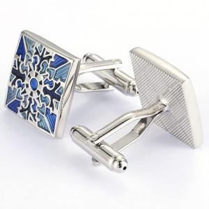 Pair of Stylish Retro Engraving Embellished Quadrate Cufflinks For Men -