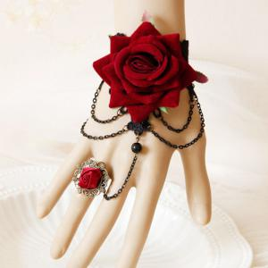 Vintage Baroque Flower Design Bracelet - Red