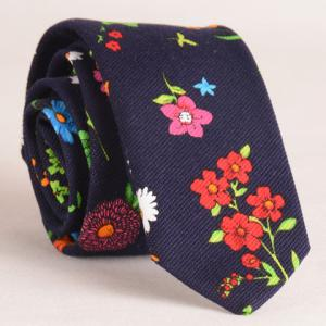 Stylish Tiny Flowers Print Tie For Men - Cadetblue - M