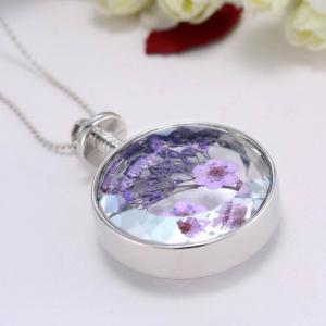 Delicate Round Lavender Specimens Floating Charm Necklace For Women -