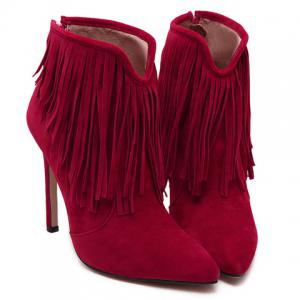 Sexy Suede and Fringe Design Women's Ankle Boots - RED 39