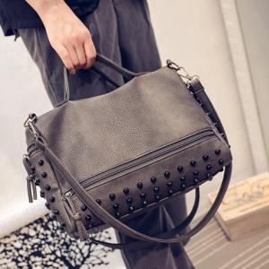 Stylish PU Leather and Rivets Design Solid Color Women's Tote Bag -