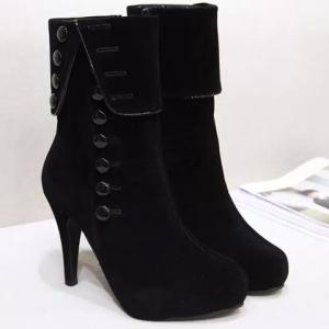 Buttons Platform High Heel Boots -