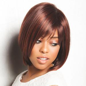 Charming Short Two-Tone Mixed Synthetic Straight Capless Inclined Bang Women's Wig -