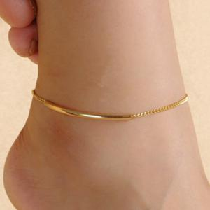 Gold Plated Glazed Bent Tube Foot Leg Anklet - Golden