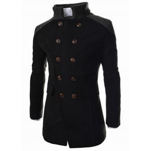 Slimming Stand Collar Inclined Top Fly Color Spliced Flap Pocket Men's Long Sleeves Peacoat - Black - 3xl