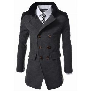 Slimming Stand Collar Inclined Top Fly Color Spliced Flap Pocket Men's Long Sleeves Peacoat - Gray - 3xl