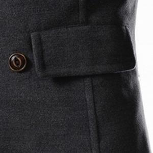 Slimming Stand Collar Inclined Top Fly Color Spliced Flap Pocket Men's Long Sleeves Peacoat - GRAY L