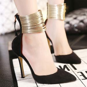 Sexy Pointed Toe and Ankle Wrap Design Women's Pumps -