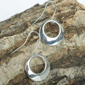Pair of Circle Alloy Drop Earrings -