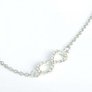 Trendy Rhinestone Infinity Anklet For Women - SILVER
