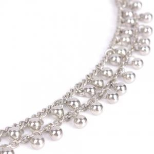 Vintage Bead Tassel Double-Layer Anklet - SILVER