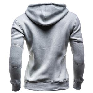 IZZUMI Slimming Hooded Single-Breasted Front Pocket Applique Design Men's Long Sleeves Hoodie - LIGHT GRAY M