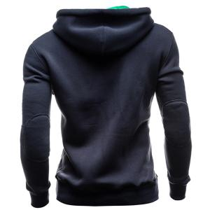 IZZUMI Slimming Hooded Single-Breasted Front Pocket Applique Design Men's Long Sleeves Hoodie -