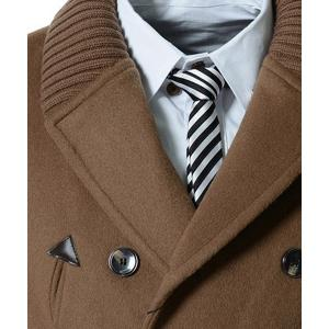 Knitted Lapel PU Leather Spliced Multi-Button Slimming Long Sleeves Men's Woolen Blend Thicken Peacoat - CAMEL XL