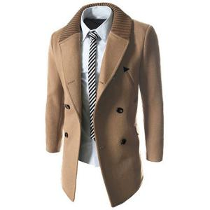 Knitted Lapel PU Leather Spliced Multi-Button Slimming Long Sleeves Men's Woolen Blend Thicken Peacoat - LIGHT CAMEL L