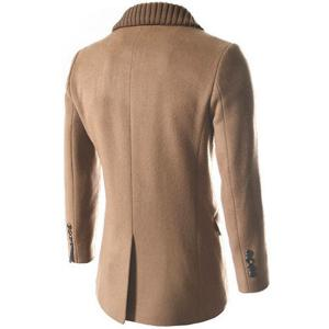 Knitted Lapel PU Leather Spliced Multi-Button Slimming Long Sleeves Men's Woolen Blend Thicken Peacoat - LIGHT CAMEL 2XL