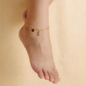 Chic Solid Color Double-Layer Fancy Anklets - Golden