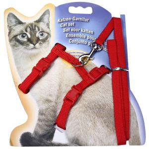 Adjustable Soft Nylon Cat Rope Leash Set Cat Accessories - Red - No.05