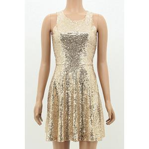 Sexy Open Back Sequined Sleeveless Mini Dress For Women -