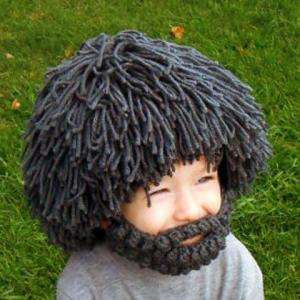 Woolen Yarn Imitated Wig Knitted Beard Face Hat For Men and Women -