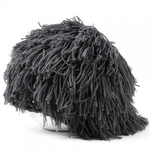 Woolen Yarn Imitated Wig Knitted Beard Face Hat For Men and Women - GRAY