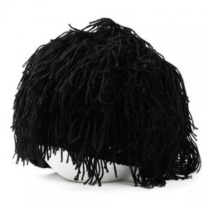 Woolen Yarn Imitated Wig Knitted Beard Face Hat For Men and Women - Black
