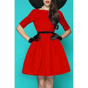 Sweet Solid Color Half Sleeve Pleated Flare Dress For Women - Red - S