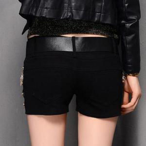 Stylish PU Leather Splicing Chained Shorts For Women -