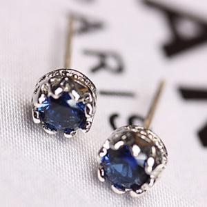 Pair of Zircon Faux Sapphire Crown Earrings - Blue