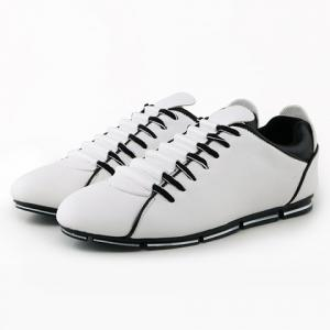 Preppy PU Leather and Color Block Design Men's Casual Shoes -