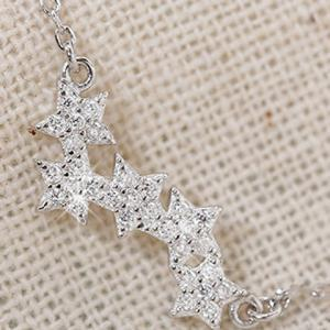 Alloy Rhinestone Star Pendant Necklace -