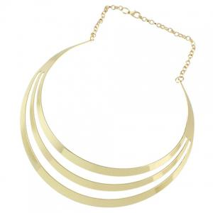 Layered Hollow Out Polished Choker Necklace - GOLDEN