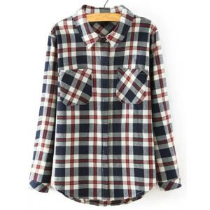 Preppy Style Polo Collar Mini Plaid Long Sleeve Blouse For Women
