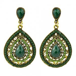 Faux Gem Teardrop Drop Earrings - Green - 6xl