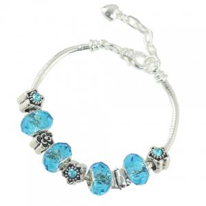 Faux Crystal Bead Flower Bracelet -