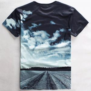 Slimming Round Neck 3D Sky Letter Print Short Sleeve Men's Graphic T-Shirt -