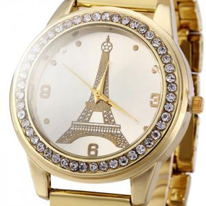 Eiffel Tower Women Diamond Quartz Watch with Stainless Steel Band -