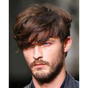Deep Brown Mixed Stylish Synthetic Short Inclined Bang Fluffy Natural Wavy Capless Wig For Men - Colormix