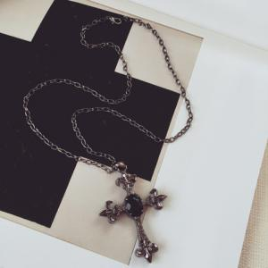 Faux Gem Cross Pendant Necklace - BLACK